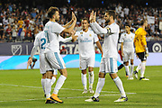 CHICAGO, IL - AUGUST 02: Real Madrid forward Borja Mayoral (21) celebrates his goal with teammates in the second half during a soccer match between the MLS All-Stars and Real Madrid on August 2, 2017, at Soldier Field, in Chicago, IL. The game ended in a 1-1 tie with Real Madrid winning on penalty kicks 4-2. (Photo by Patrick Gorski/Icon Sportswire)