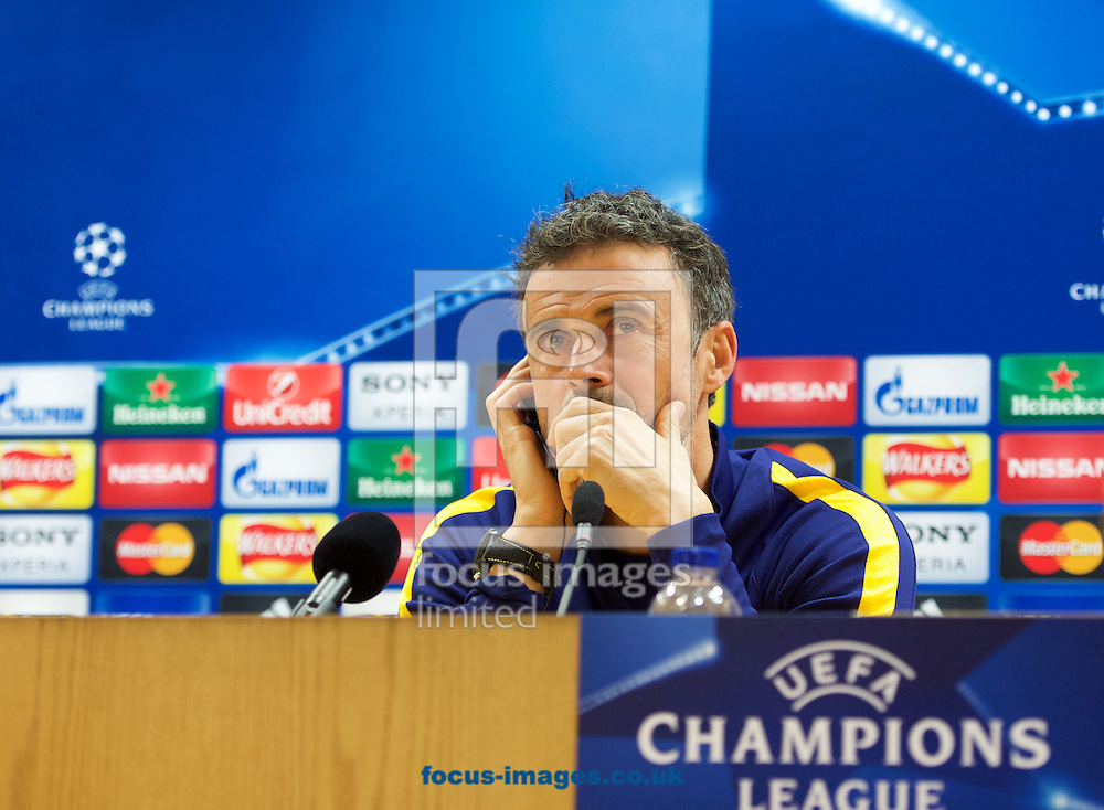 Manager Luis Enrique of Barcelona during the Barcelona press conference at the Emirates Stadium, prior to their Champions League match against Arsenal tomorrow. London, England.<br /> <br /> Picture by Alan Stanford/Focus Images Ltd +44 7915 056117<br /> 22/02/2016