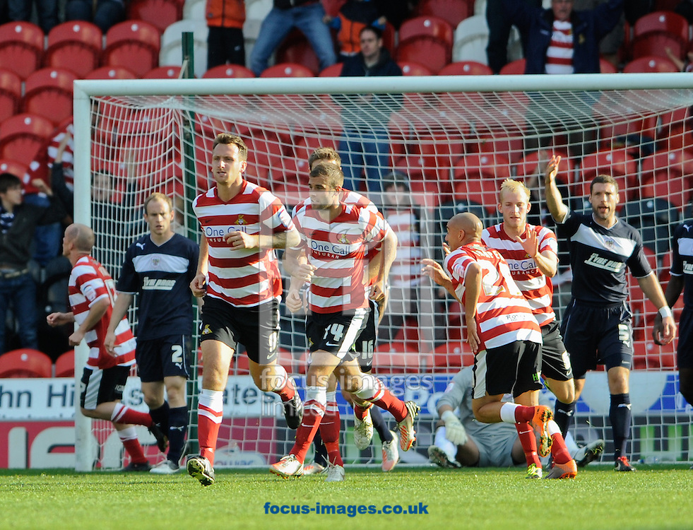 Picture by Richard Land/Focus Images Ltd +44 7713 507003.22/09/2012.Chris Brown of Doncaster Rovers celebrates scoring during the npower League 1 match at the Keepmoat Stadium, Doncaster.