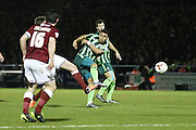 Andy Barcham of AFC Wimbledon shots during the Sky Bet League 2 match between Northampton Town and AFC Wimbledon at Sixfields Stadium, Northampton, England on 1 March 2016. Photo by Stuart Butcher.
