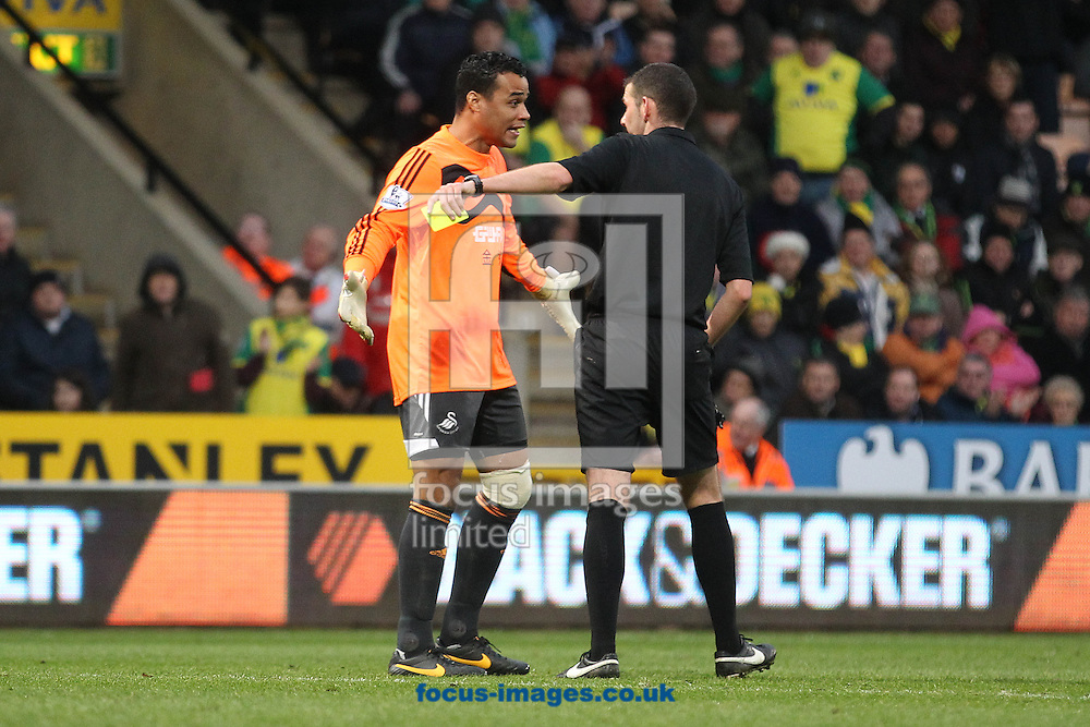 Picture by Paul Chesterton/Focus Images Ltd +44 7904 640267<br /> 15/12/2013<br /> Michel Vorm (Swansea City) gets a yellow card from referee Michael Oliver for persistent time wasting during the Barclays Premier League match at Carrow Road, Norwich.