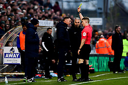 Bristol Rovers manager Graham Coughlan receives a yellow card - Mandatory by-line: Ryan Hiscott/JMP - 01/12/2019 - FOOTBALL - Memorial Stadium - Bristol, England - Bristol Rovers v Plymouth Argyle - Emirates FA Cup second round