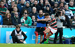 Owen Williams of Leicester Tigers kicks a conversion - Mandatory by-line: Robbie Stephenson/JMP - 23/10/2016 - RUGBY - Welford Road Stadium - Leicester, England - Leicester Tigers v Racing 92 - European Champions Cup