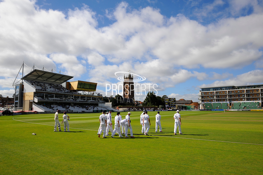 The players take to the field at The Cooper Associates County Ground on a sunny morning before the 4th days play in the Specsavers County Champ Div 1 match between Somerset County Cricket Club and Hampshire County Cricket Club at the Cooper Associates County Ground, Taunton, United Kingdom on 26 August 2016. Photo by Graham Hunt.