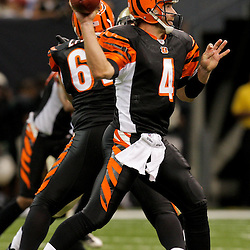 2009 August 14: Cincinnati Bengals quarterback J.T. O'Sullivan (4) passes the ball during a preseason opener between the Cincinnati Bengals and the New Orleans Saints at the Louisiana Superdome in New Orleans, Louisiana.