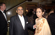 Mr. and Mrs. Gopichard Hinduja, at the Sargent Cancer Care for children annual charity gala, Park Lane hotel, © Copyright Photograph by Dafydd Jones 66 Stockwell Park Rd. London SW9 0DA Tel 020 7733 0108 www.dafjones.com