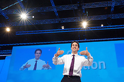 Rt Hon Ed Miliband MP during a Q & A to the Labour Party Conference in Manchester, October 3, 2012. Photo by Elliott Franks / i-Images