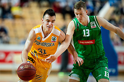 Zan Mark Sisko of Sixt Primorska vs Miha Lapornik of Petrol Olimpija during basketball match between KK Sixt Primorska and KK Petrol Olimpija in semifinal of Spar Cup 2018/19, on February 16, 2019 in Arena Bonifika, Koper / Capodistria, Slovenia. Photo by Vid Ponikvar / Sportida