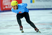 Graz, Austria - 2017 March 22: Apolo Ohno (Special Olympics Global Ambassador - a retired American short track speed skating competitor and an eight-time medalist in the Winter Olympics - two gold, two silver, four bronze) performances during Speed Skating Unified Sports Experiences while Special Olympics World Winter Games Austria 2017 at Icestadium Graz Liebenau on March 22, 2017 in Graz, Austria.<br /> <br /> Mandatory credit:<br /> Photo by &copy; Adam Nurkiewicz / Mediasport<br /> <br /> Adam Nurkiewicz declares that he has no rights to the image of people at the photographs of his authorship.<br /> <br /> Picture also available in RAW (NEF) or TIFF format on special request.<br /> <br /> Any editorial, commercial or promotional use requires written permission from the author of image.<br /> <br /> Image can be used in the press when the method of use and the signature does not hurt people on the picture.