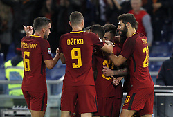 October 28, 2017 - Rome, Italy - Roma s Stephan El Shaarawy, second from right, celebrates with his teammates after scoring the winning goal during the Serie A soccer match between Roma and Bologna at the Olympic stadium.M Roma won 1-0. (Credit Image: © Riccardo De Luca/Pacific Press via ZUMA Wire)