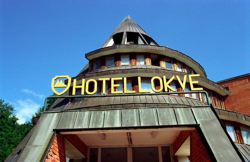 The front of Hotel Lokve...Hotel Lokve, a mountain ski hotel in Montenegro became the home of a diverse group of 60 refugees after the Kosovo refugee crisis. .