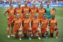 July 7, 2019 - Lyon, France - Netherlands line-up (L-R) Dominique Bloodworth,Stefanie Van Der Gragt, Anouk Dekker, Vivianne Miedema, Sherida Spitse, Sari Van Veenendaal, Desiree Van Lunteren, Lieke Martens, Jackie Groenen, Danielle Van De Donk, Lineth Beerensteyn during the 2019 FIFA Women's World Cup France Final match between The United State of America and The Netherlands at Stade de Lyon on July 7, 2019 in Lyon, France. (Credit Image: © Jose Breton/NurPhoto via ZUMA Press)