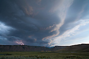 A strong summer storm moves over the National Elk Refuge on the edge of the town of Jackson, Wyoming.<br /> Photo by David Stubbs