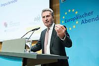 """04 DEZ 2017, BERLIN/GERMANY:<br /> Guenther Oettinger, CDU, EU-Kommissar fuer Haushalt und Personal, haelt eine Rede, Europäischer Abend """"Europäische Solidarität: Was darf's kosten?"""", dbb beamtenbund und tarifunion, dbb Atrium<br /> IMAGE: 20171204-01-061<br /> KEYWORDS: Europaeischer Abend, Günther Öttinger"""