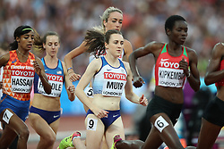 London, August 13 2017 . Laura Muir, Great Britain, in the women's 5000m final on day ten of the IAAF London 2017 world Championships at the London Stadium. © Paul Davey.
