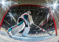 KELOWNA, CANADA - FEBRUARY 2:  Brodan Salmond #31 of the Kelowna Rockets scuffs the crease at the start of the second period against the Everett Silvertips on FEBRUARY 2, 2018 at Prospera Place in Kelowna, British Columbia, Canada.  (Photo by Marissa Baecker/Shoot the Breeze)  *** Local Caption ***