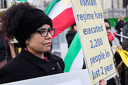 Westminster, London February 4th 2016. As regional leaders gather in London for the Syria Conference, supporters of Iran's opposition leader Maryam Rajavi protest against Iran's support of the Syrian regime of Bashar Assad. ///FOR LICENCING CONTACT: paul@pauldaveycreative.co.uk TEL:+44 (0) 7966 016 296 or +44 (0) 20 8969 6875. ©2015 Paul R Davey. All rights reserved.