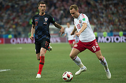 July 1, 2018 - Nizhny Novgorod, Russia - Mario Mandzukic of Croatia vies Christian Eriksen of Denmark during the 2018 FIFA World Cup Russia Round of 16 match between Croatia and Denmark at Nizhny Novgorod Stadium on July 1, 2018 in Nizhny Novgorod, Russia. (Credit Image: © Foto Olimpik/NurPhoto via ZUMA Press)