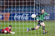 Gavin Thompson scores Dundee's second - Dundee v Forth Valley, Scottish Schools FA Senior Cup Final at Dens Park..© David Young - 5 Foundry Place - Monifieth - DD5 4BB - Telephone 07765 252616 - email: davidyoungphoto@gmail.com - web: www.davidyoungphoto.co.uk
