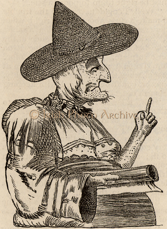 Mother Shipton (1488-c1560). First mention of Ursula Sonthiel of Shipton, Yorkshire, English witch and prophetess, is in 1641, many decades after she made her prophecies.  Engraving c1860.