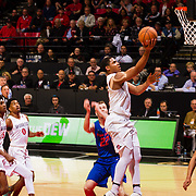 27 February 2018: San Diego State men's basketball hosts Boise State in it's last meet up of the regular season at Viejas Arena. San Diego State Aztecs forward Matt Mitchell (11) completes the fast break steal with a lay up. The Aztecs lead 38-37 at halftime. <br /> More game action at sdsuaztecphotos.com