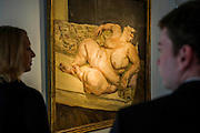 "Lucian Freud, Benefits of Supervisor Resting 1994, est $30-50m. Preview of almost fifty works from Christie's spring sales in New York of Impressionist, Modern, Post-War And Contemporary Art. The most expensive work is Les femmes d'Alger (Version ""O""), 1955, by Pablo Picasso (1881-1973), estimate $140million. Other highlights include: Pablo Picasso (1881-1973), Femme à la résille, 1938 (est $55 million); Mark Rothko (1903 -1970), No. 36 (Black Stripe), 1958 (est: $30-50 million); Andy Warhol (1928-1987), Colored Mona Lisa, 1963 (est $40 million); Claude Monet (1840-1926), Le Parlement, soleil couchant, 1902 (est: $35-45 million); Jean Dubuffet, Paris Polka, 1961 (est $25 million); Piet Mondrian (1872-1944), Composition No.III (Composition with Red, Blue, Yellow and Black), 1929 (est: $15-25million); and Amedeo Modigliani (1884-1920), Portrait de Béatrice Hastings, 1916 (est $7-10million) from the Collection of John C. Whitehead. The works will be on view to the public from 11 to 16 April at Christie's King Street, London."