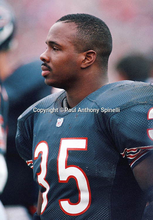 Chicago Bears running back Neal Anderson (35) looks on from the sideline during the NFL NFC Wild Card playoff football game against the Dallas Cowboys on Dec. 29, 1991 in Chicago. The Cowboys won the game 17-13. (©Paul Anthony Spinelli)