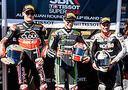 Chaz Davies, Jonathan Rea, Leon Haslam on the podium in Race 1. <br /> Philip Island, Australia, 03.03.2015 FIM World Superbike Championship - Honorarpflichtiges Bild, Motorrad WSBK -<br /> fee liable image, copyright © ATP / Damir IVKA