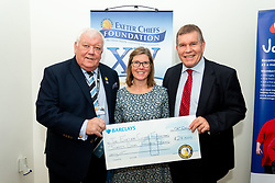 Tony Rowe OBE recieves a cheque for £27,000 from the Exeter Chiefs Cycling Club at the annual Exeter Chiefs Foundation Christmas Dinner at Sandy Park - Ryan Hiscott/JMP - 07/12/2018 - RUGBY - Sandy Park - Exeter, England - Exeter Chiefs Foundation Christmas Dinner with David Flatman