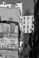 France. Paris 18th; people on Montmartre stairs, Rue Drevet