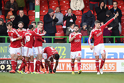 Swindon players celebrate Swindon Town's Andy Williams equaliser - Photo mandatory by-line: Paul Knight/JMP - Mobile: 07966 386802 - 21/02/2015 - SPORT - Football - Swindon - The County Ground - Swindon Town v Crawley Town - Sky Bet League One
