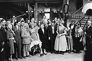 1959. From left to right: Mr Cabot Lodge, his wife, Louis Jordan, Nikita Khrushchev, Shirley MacLaine, Madame Khrushchev, Maurice Chevalier, Frank Sinatra and Juliet Prowse, on the set of Can Can.<br /> <br /> 1959. De gauche &agrave; droite : M. Cabot Lodge, son epouse , Louis Jordan , Nikita Khrouchtchev , Shirley MacLaine , Mme Khrouchtchev , Maurice Chevalier , Frank Sinatra et Juliette Prowse , sur le plateau de tournage du film Can Can