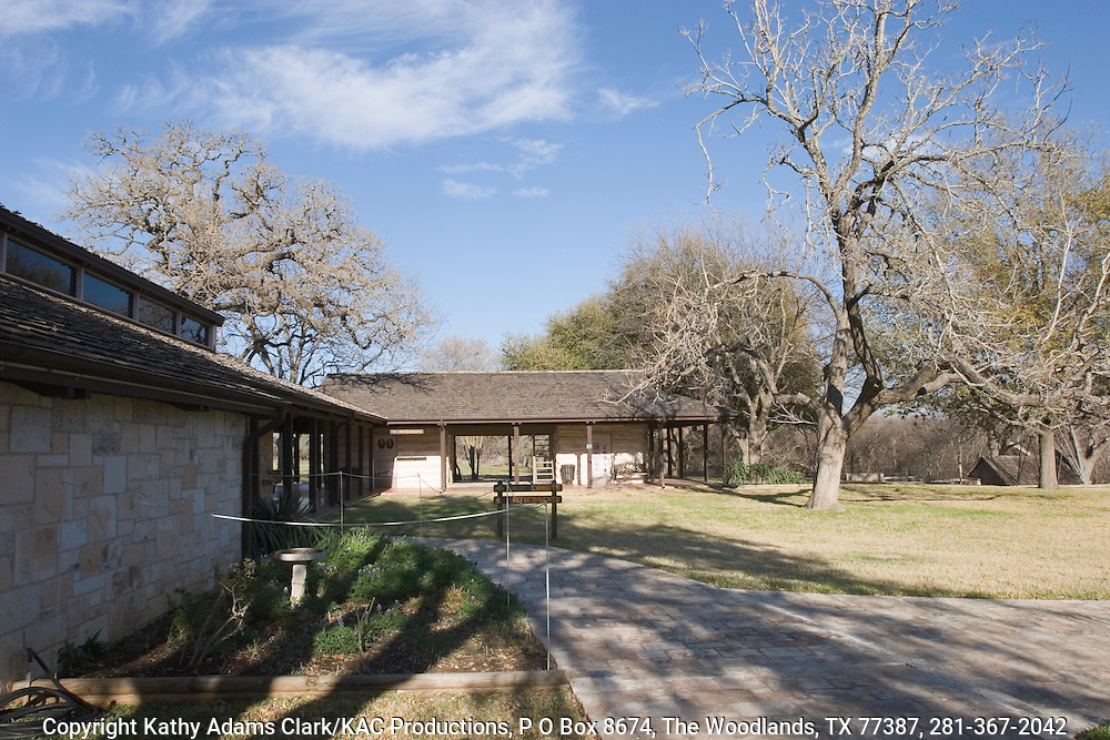 Visitor center at the Lyndon B Johnson Park and Historic Site near Stonewall.  Buildings house historic desplays and gifts shop.