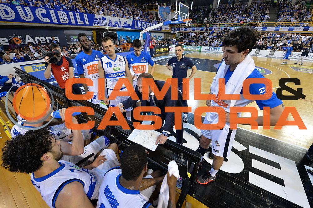 timeout brescia<br /> Germani Basket Brescia Leonessa - Pasta Reggia Juve Caserta<br /> Lega Basket Serie A 2016/2017<br /> Montichiari, 02/04/2017<br /> Foto Ciamillo-Castoria / M. Brondi