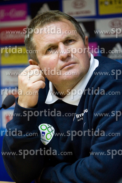 Head coach of Slovenia Matjaz Kek at press conference after  the 2010 FIFA World Cup South Africa Qualifying match between Slovakia and Slovenia, on October 10, 2009, Tehelne Pole Stadium, Bratislava, Slovakia. Slovenia won 2:0. (Photo by Vid Ponikvar / Sportida)