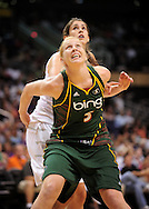Aug 20, 2010; Phoenix, AZ, USA; Seattle Storm forward Abby Bishop and Phoenix Mercury XXX battle for positioning during the first half in at US Airways Center.  Mandatory Credit: Jennifer Stewart-US PRESSWIRE