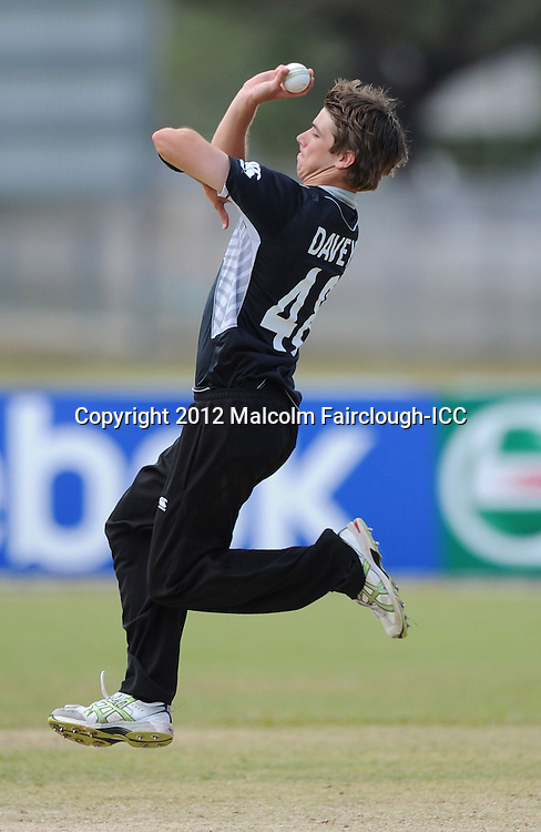 TOWNSVILLE, AUSTRALIA - AUGUST 20:  Sean Davey of New Zealand bowls during the ICC U19 Cricket World Cup 2012 Quarter Final match between New Zealand and the West Indies at Endeavour Park on August 20, 2012 in Townsville, Australia.  (Photo by Malcolm Fairclough-ICC/Getty Images)