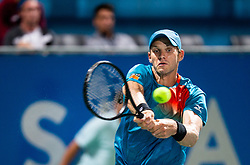 Blaz Rola of Slovenia playing singles during ATP Challenger Zavarovalnica Sava Slovenia Open 2019, day 6, on August 14, 2019 in Sports centre, Portoroz/Portorose, Slovenia. Photo by Vid Ponikvar / Sportida