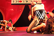 The artists of ?The Tiffany Show?, a group of transvestite dancers from Thailand, are performing on stage at the Erotica 2006 show in London, UK, on Friday, Nov. 17, 2006. Erotica is the world's largest adult lifestyle show. It attracts about 80,000 visitors every year with its over 150 retailer exhibitors, dazzling and decadent transvestite cabaret shows, fun foreplay seminars, beautiful lingerie collections, art and fetish demonstrations. **Italy Out**