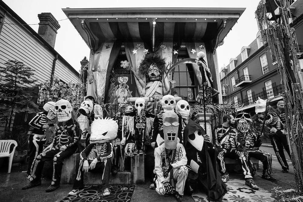 New Orleans, LA, February 12, 2013, The Skeleton Krewe wearing costumes made by artist  Christopher Kirsch on Mardi Gras Day.