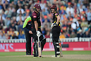 Corey Anderson and Tom Abel of Somerset during the Vitality T20 Finals Day semi final 2018 match between Sussex Sharks and Somerset County Cricket Club at Edgbaston, Birmingham, United Kingdom on 15 September 2018.
