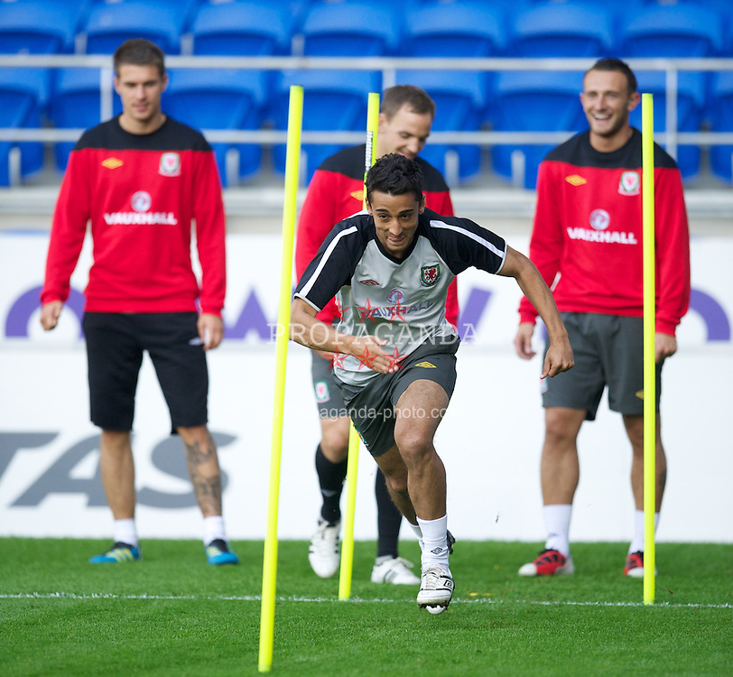 CARDIFF, WALES - Tuesday, August 9, 2011: Wales' Neil Taylor during a training session at the Cardiff City Satdium ahead of the International Friendly match against Australia. (Photo by David Rawcliffe/Propaganda)