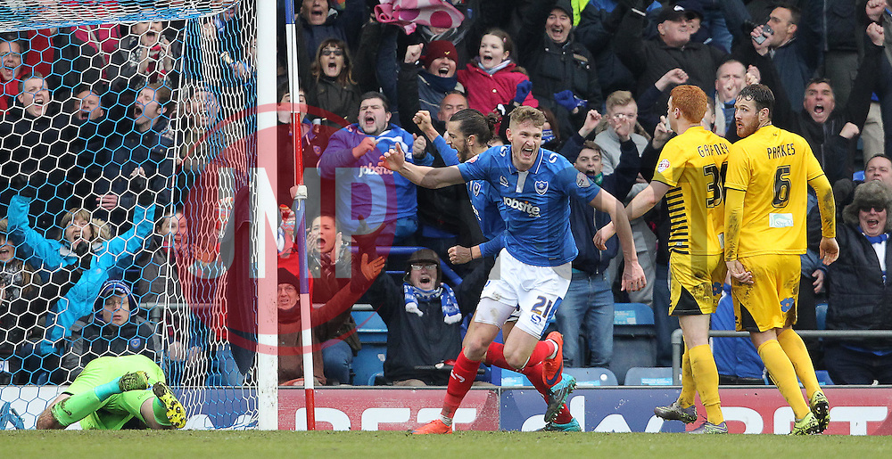 Michael Smith ( C ) of Portsmouth celebrates after he scores to make it 2-0 - Mandatory byline: Paul Terry/JMP - 13/02/2016 - FOOTBALL - Fratton Park - Portsmouth, England - Portsmouth v Bristol Rovers - Sky Bet League Two