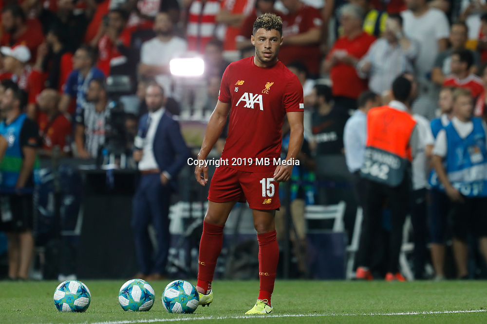 ISTANBUL, TURKEY - AUGUST 14: Alex Oxlade-Chamberlain of Liverpool looks on during the warm-up ahead of the UEFA Super Cup match between Liverpool and Chelsea at Besiktas Park on August 14, 2019 in Istanbul, Turkey. (Photo by MB Media/Getty Images)