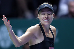 October 26, 2018 - Singapore - Angelique Kerber of Germany reacts to loosing a point during the match between Angelique Kerber and Sloane Stephens on day 6 of the WTA Finals at the Singapore Indoor Stadium. (Credit Image: © Paul Miller/ZUMA Wire)