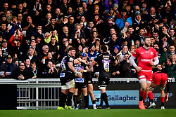 Nic White of Exeter Chiefs celebrates scoring his sides first try of the game - Mandatory by-line: Ryan Hiscott/JMP - 29/12/2019 - RUGBY - Sandy Park - Exeter, England - Exeter Chiefs v Saracens - Gallagher Premiership Rugby
