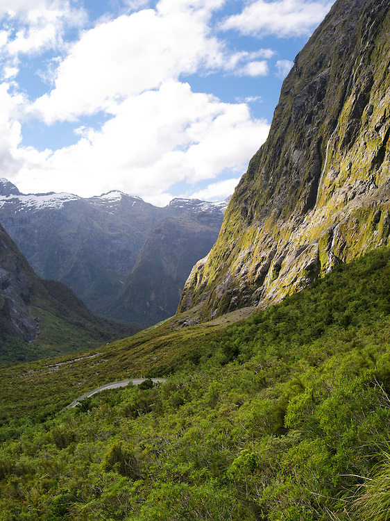 Looking down the Cleddau River Valley, west of the Home Tunnel, Highway 94, on the route from Te Anau to Milford Sound, Fiordland National Park, Southland New Zealand