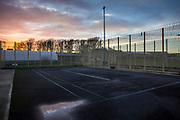 Excercise yard, Beaufort House, a skill development unit for enhanced prisoners. Part of HMP/YOI Portland, a resettlement prison with a capacity for 530 prisoners. Dorset, United Kingdom.