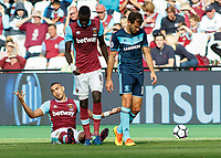 Football - 2016 / 2017 Premier League - West Ham United vs. Middesborough <br /> <br /> Dimitri Payet of West Ham raises his arms in the air after being fouled again  at The London Stadium.<br /> <br /> COLORSPORT/DANIEL BEARHAM