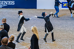 Werth Isabell, GER, De Vos Ingmar, BEL<br /> Göteborg - Gothenburg Horse Show 2019 <br /> FEI Dressage World Cup™ Final II<br /> Grand Prix Freestyle/Kür - Prix giving ceremony<br /> Longines FEI Jumping World Cup™ Final and FEI Dressage World Cup™ Final<br /> 06. April 2019<br /> © www.sportfotos-lafrentz.de/Stefan Lafrentz
